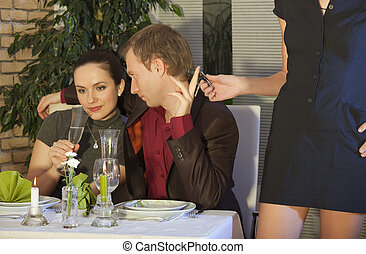 cheat in restaurant - man cheating on his girlfriend and...