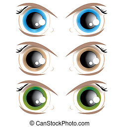 Animated eyes - The vector image of animated eyes of...