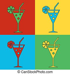 Pop art cocktail glass symbol icons Vector illustration