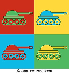 Pop art panzer symbol icons Vector illustration