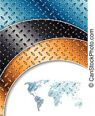 Industrial background with colored metallic plates