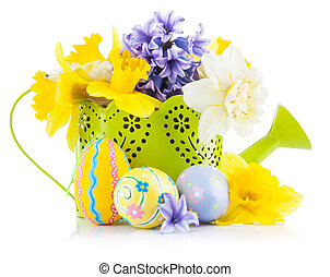 Easter eggs with spring flowers in watering can Isolated on...
