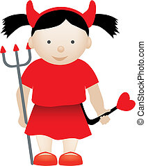 cute devil girl - cute little girl dressed up as a loveable...