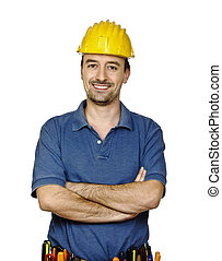 handyman - young caucasian mantool isolated on white...