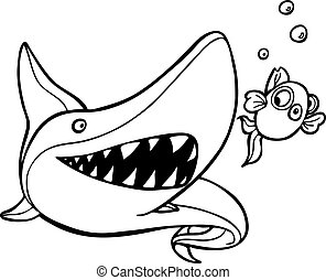 shark chasing goldfish line art - isolated on a white...