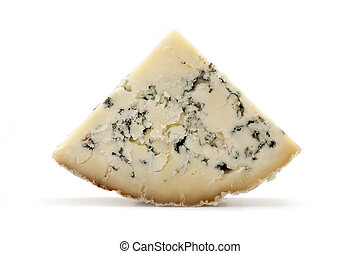 Blue Stilton cheese - Slice of blue Stilton cheese on a...