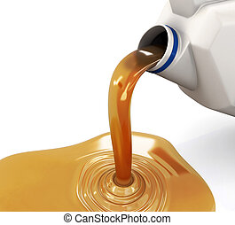 Oil pouring from the canister