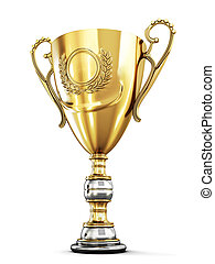 Golden trophy cup on a white