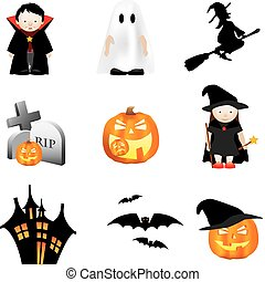 halloween illustration set of different cartoon elements