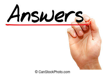Hand writing Answers, business concept