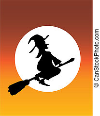 witch orange moon - illustration of a witch flying across...