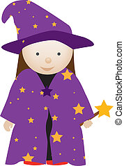 wizard girl - girl dresserd up as a cute wizard in costume