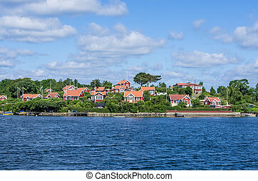 Cottages - Buildings on an island in the archipelago of...
