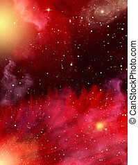 Stars and Nebulae - A star field with red and purple...
