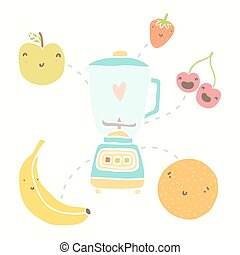 Blender and funny fruits. Vectro hand drawn illustration