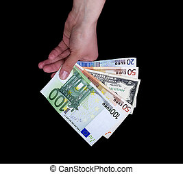 Female Hand Holding Euro and Dollar Banknotes