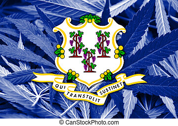 Connecticut State Flag on cannabis background. Drug policy....