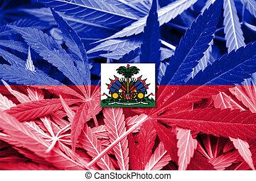 haiti, bandiera, su, canapa, fondo., droga, policy.,...