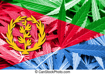 Eritrea Flag on cannabis background. Drug policy....