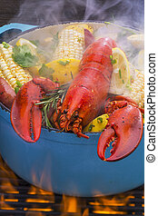 Steamed Lobster and Vegetables cook - Steamed lobster and...