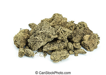 Dry cow manure - Pile of dry cow manure isolated on white...