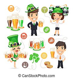 Office Workers on the Patricks Day Party Isolated on White...