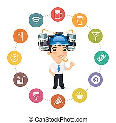 Manager with Blue Beer Helmet on His Head and Pub Icons Set...