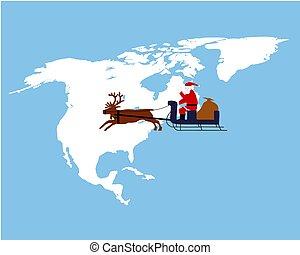Santa Claus riding on his reindeer sleigh high above northamerica