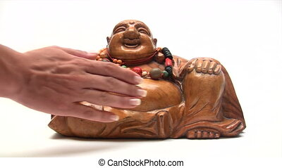 For Good Luck - Rub my Tummy - Female hand rubbing wooden...
