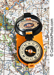 compass and map - The magnetic compass and topographic map...