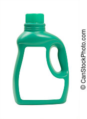 Laundry Detergent in Green Bottle - Green bottle of laundry...