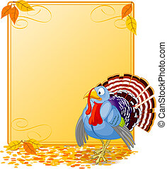 Cartoon Turkey Banner - Cartoon turkey strutting with...