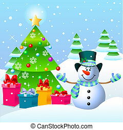Snowman and Christmas tree - Cute Snowman standing near a...