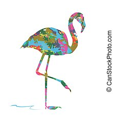 abstract flamingo on white background