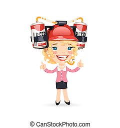 Office Girl with Red Beer Helmet on Her Head. Isolated on...