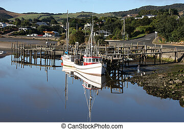 New Zealand - Riverton - scenic fishing harbor in Southland,...
