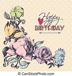 Happy birthday card, floral corner ornament