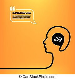Brain sign icon. Intelligent smart mind. - Head think with...