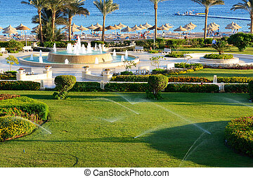 The fountain near beach at the luxury hotel, Sharm el...