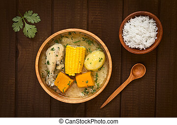 Traditional Chilean Cazuela Soup - Overhead shot of...