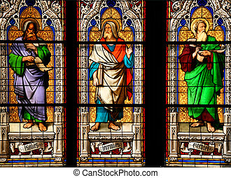 Saints - Cologne cathedral stained glass art depicting...