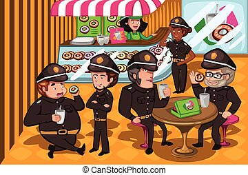 Police officers in a donuts store - A vector illustration of...