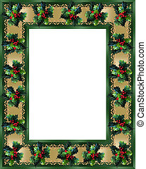 Christmas Border Holly and ribbon elegant - Image and...