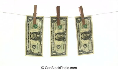 Banknotes on Clothesline - One dollar bills drying in the...
