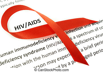 papel, con, VIH, Ayudas, y, rojo, cinta,