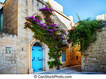 Street in Mdina. - Ancient architecture of the Mdina - the...
