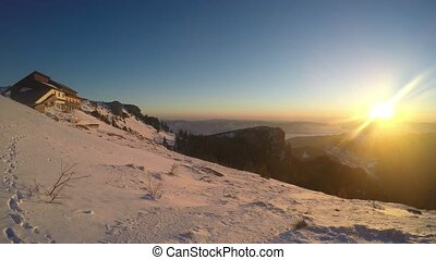 Sunrise panorama at Dochia Chalet, Romanian Carpathians
