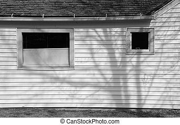 Black and White Side of an Old House - Side view of an old...