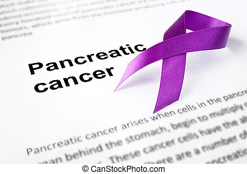 Paper with pancreatic cancer and purple ribbon