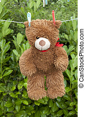 toy brown teddy bear hanging on line